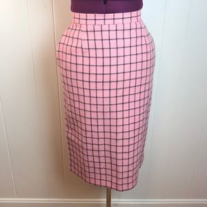 Vintage 80s Wool Checkered Pencil Skirt